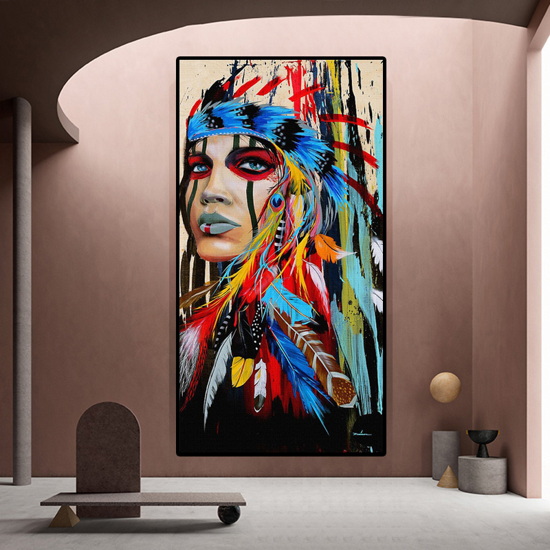 Watercolor Indian woman with feather art canvas art wall painting posters and prints for living room wall decoration painting