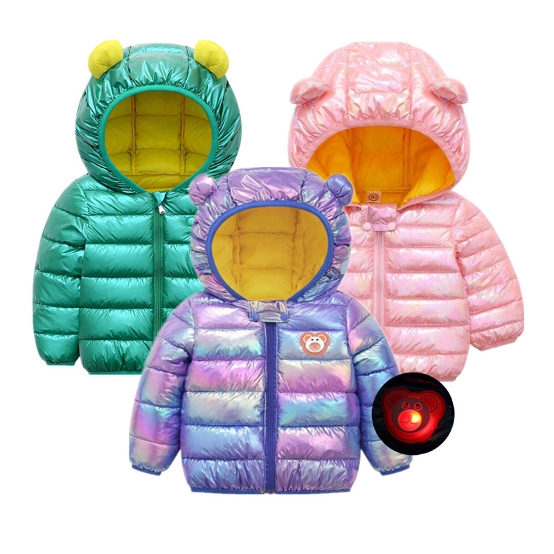 Baby Girls Spring Jacket Kids Shiny Boys Fashion Coats With Ear Hoodies Cute 2021 Winter Girls Infant Clothing Children's Jack