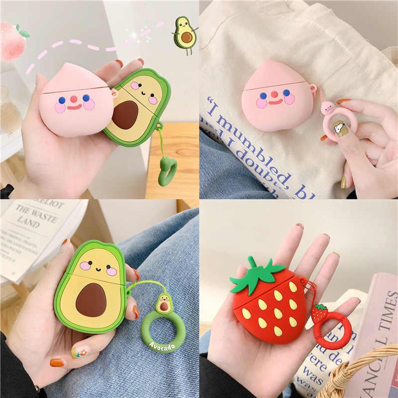 Silikonowe Bluetooth bezprzewodowy etui na słuchawki dla Airpods 1 2 Cartoon pokrywa ochronna owoc brzoskwinia pokrywa słuchawki douszne pierścień pasek
