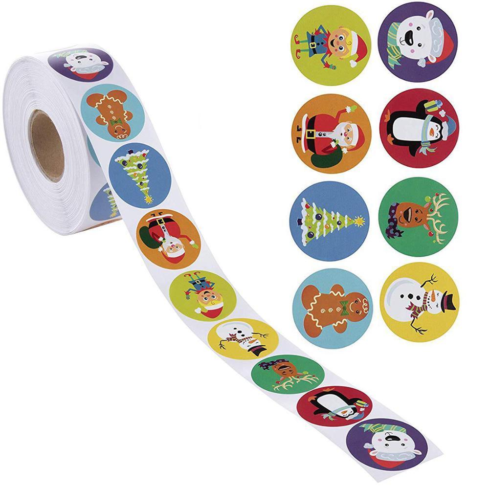 500 Merry Christmas Kraft Handmade Sticker Card Box Package Santa Thank You Label Sealing Stickers W