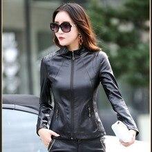 Genuine Sheepskin Jacket Women's Cool Slim Black Leather Coat Spring Autumn Female Plus Size Real Sheepskin Short Leather Coats