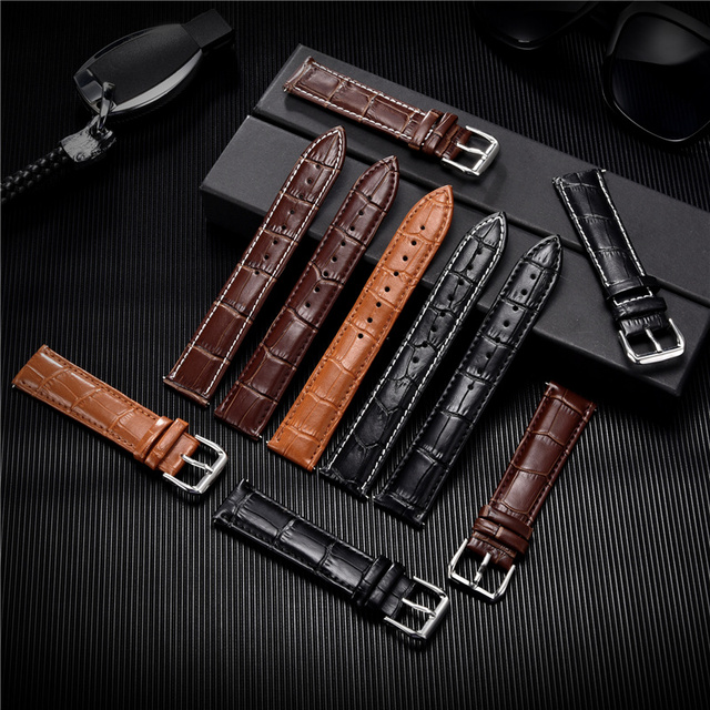 Croc Embossed Calfskin Leather Watchband (Multiple Colours) 4