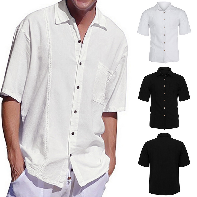2019 Men Casual Linen Shirt White