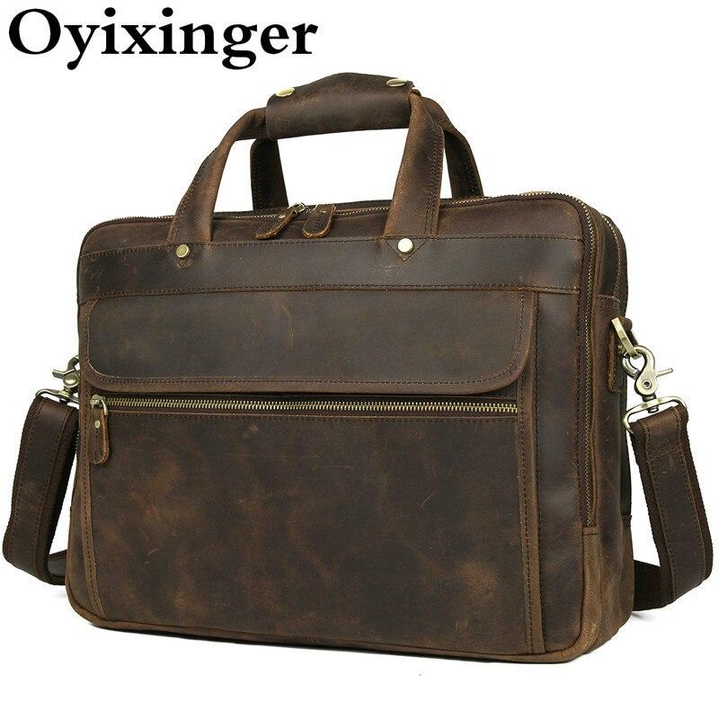 New Vintage Thick Genuine Leather Briefcase Bags Men Crazy Horse Leather 15.6 Inch Laptop Handbag Office Man Briefcase Portfolio
