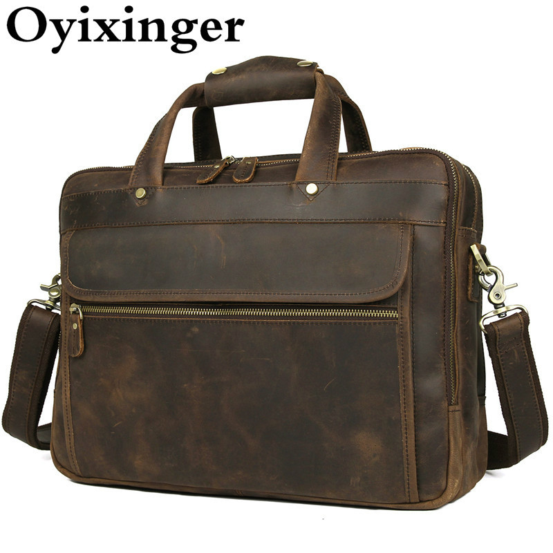 Top Quality Genuine Leather Briefcase Men Crazy Horse Leather Bags For 15.6 Inches Laptop Handbag Office Man Briefcase Portfolio