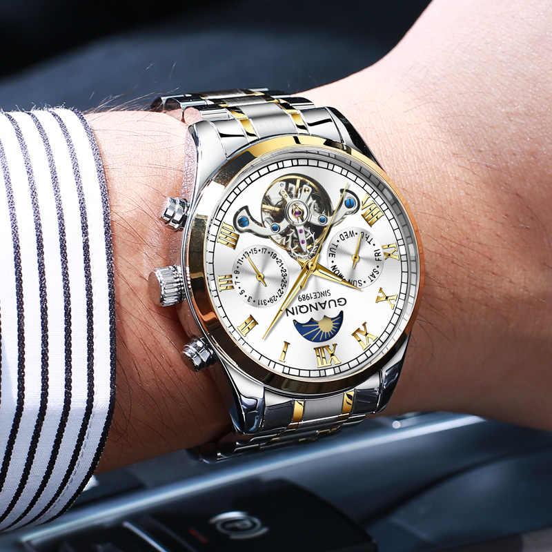Relogio Masculino 2020ผู้ชายGUANQINอัตโนมัตินาฬิกาผู้ชายแบรนด์หรูกันน้ำนาฬิกาข้อมือMechanical Moon Phase