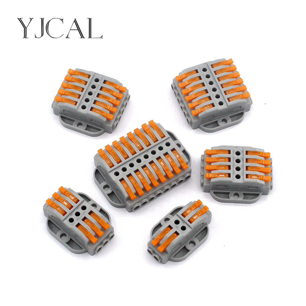1PCS LED Light Wire Connector Fixed Type Push-on Terminal Block Cage Spring Universal Fast Wiring Clip Copper-aluminum Butt Plug