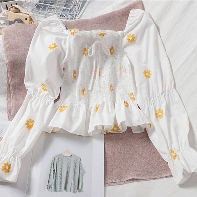 LJSXLS 2020 Autumn Sexy Off Shoulder Blouse Women Slim Crop Tops Blusas Mujer Korean Fashion Woman Embroidery Flare Sleeve Shirt 3