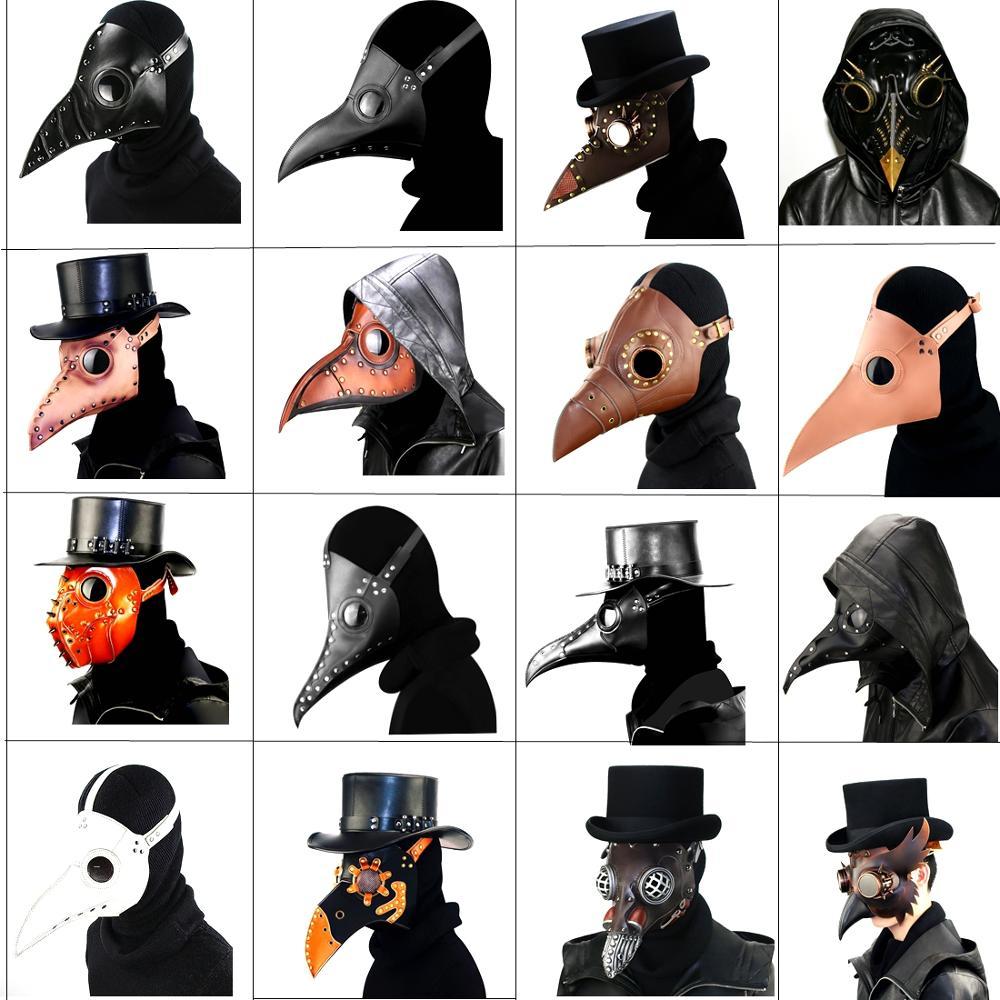 Steampunk Plague Doctor Bird Mask PU Punk Medieval Cosplay Beak Funny Masks Helmets Halloween Event Cosplay Props Adult Kids