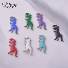 Faced Jewelry-Making Dinosaur Charms Rex-Pendant Copper-Enamelled Diy 30pcs Both 6--14mm