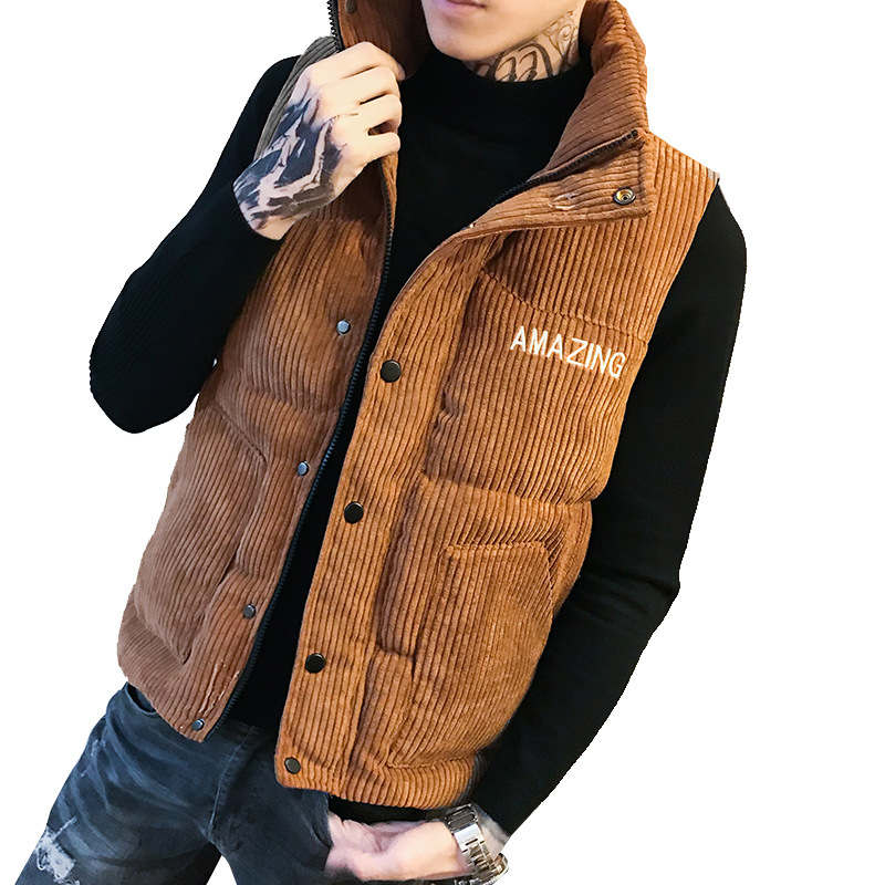 Mens Down Vests Winter Jackets Waistcoat Men Fashion Sleeveless Solid Zipper Coat Overcoat Keep Warm