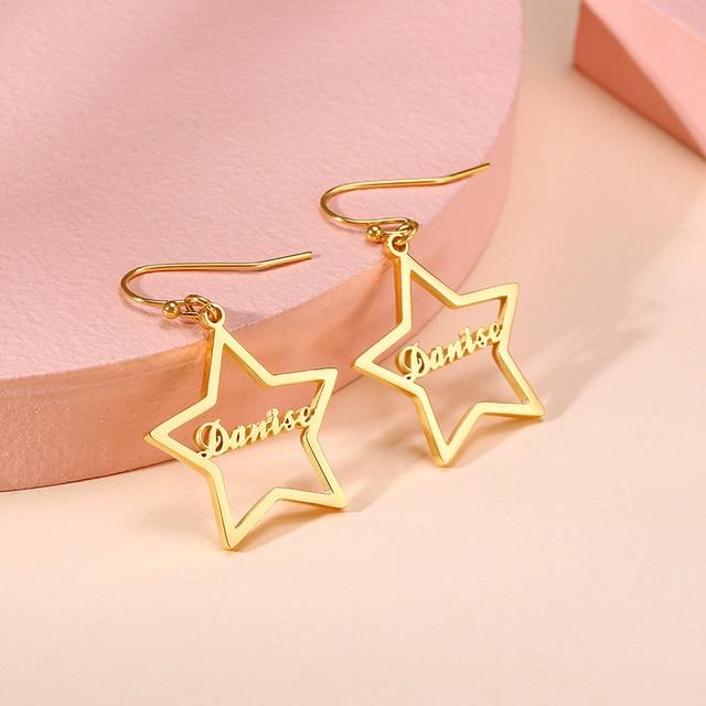 Brincos de gota de nome personalizado feminino personalizado aço inoxidável balançar brincos jóias para seus melhores amigos presentes 2