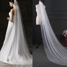 Elegant Wedding Accessories 3 Meters 2 Layer Veil White Simple Bridal With Comb Mantilla Hot Sale