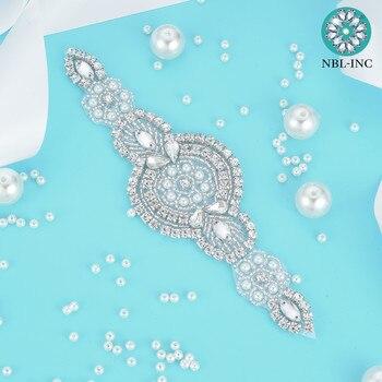 (30 uds) venta al por mayor, Parche de apliques de diamantes de imitación de plata para coser cristal con cuentas de hierro para novia, diadema WDD0019