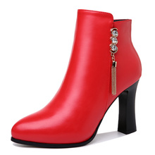 цена на New Fashion Winter Women Boots High Heel Women Shoes PU Leather Women Pumps Square Heels Women Shoes Zip 3-47