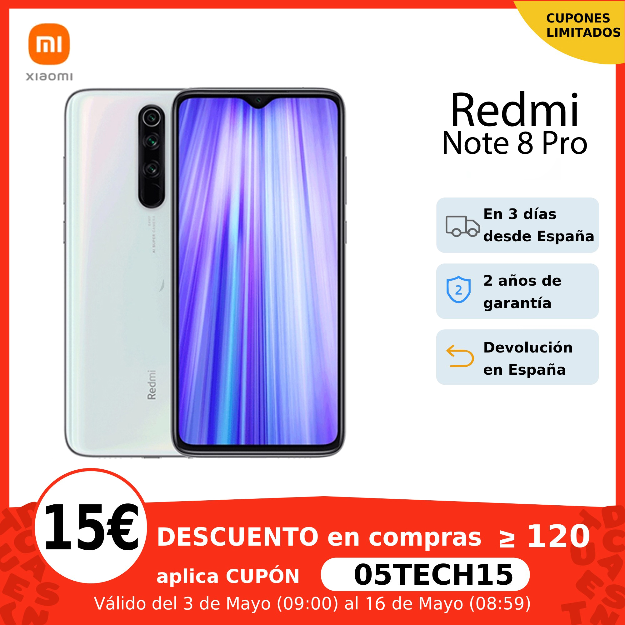 Xiaomi Redmi Note 8 Pro, Versión global, 6GB RAM 64GB/128GB ROM, MTK Helio G90T móvil, 64MP Cámara, 4500mAh 18W QC3.0 UFS 2.1, €12 Code:11112020ES12+€10 Seleccionar cupón on 11.11 09:00|Teléfonos móviles| - AliExpress