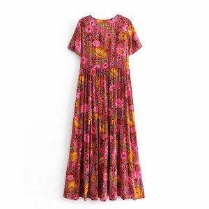 Image 2 - فستان نسائي طويل كلاسيكي أنيق مزين بالدانتيل بطباعة الأزهار على الشاطئ بتصميم بوهيمي فستان سيدات صيفي بوهو من رايون