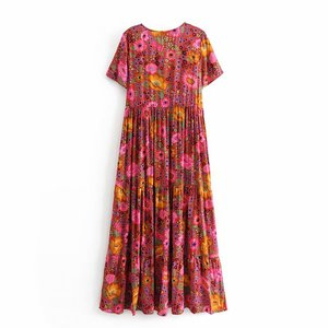 Image 2 - Vintage chique feminino laço up floral impressão praia boêmio maxi vestido senhoras rayon verão boho vestidos
