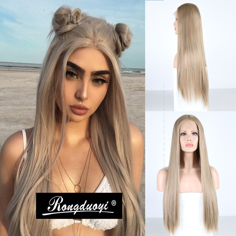 RONGDUOYI Ash Blond Heat Resistant Synthetic Lace Front Wigs For Women Long Silky Straight Glueless Front Wig With Middle Part