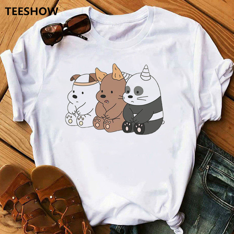 Cute Bears Funny T Shirts Women Clothes 2020 Animal Printed T-shirt Camiseta Mujer Vogue Tshirt Tops Tee Female