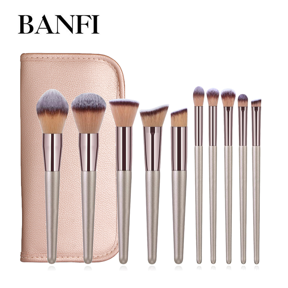Makeup Brushes Set 10pcs Cosmetic Brush Set Make Up Tool Kit Foundation Natural-synthetic Hair Pincel Maquiagem