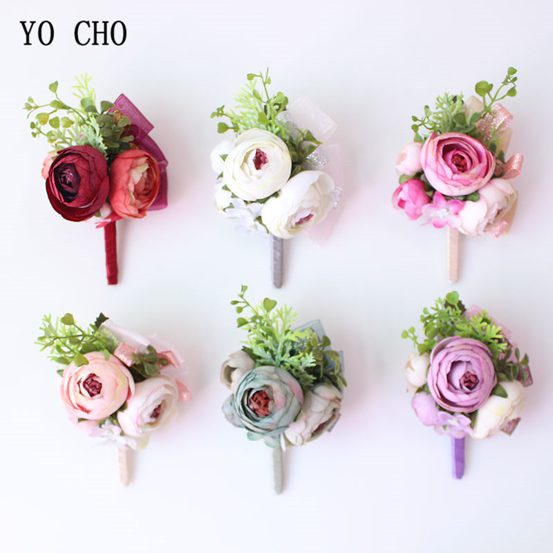 YO CHO Wedding Silk Roses Red Bridesmaid Bracelets Flowers Boutonniere Groomsman Wedding Witness Marriage Corsages Accessories