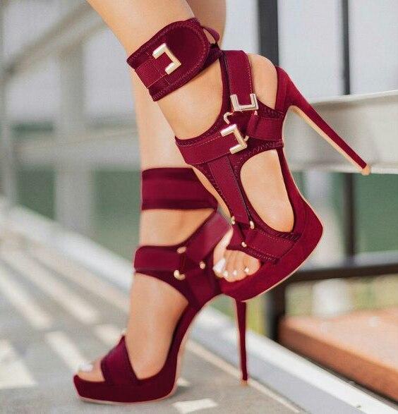 Sandales à plate forme à la mode bout ouvert découpé chaussures à talons hauts crochet et boucle bride à la cheville Sexy chaussures à talons aiguilles boucle décor sandales
