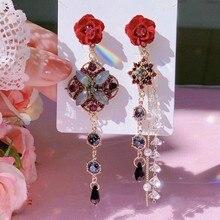 MENGJIQIAO-Pendientes colgantes de cristal con flores rojas para mujer, aretes largos con borlas de perlas elegantes, regalos de joyería para fiesta