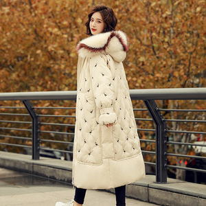 Image 3 - 100% white duck down jacket female explosion models winter natural fox big fur collar long section thick ladies down jacket