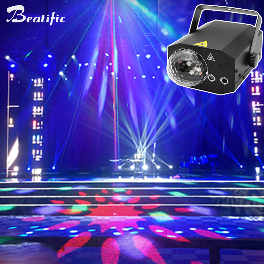 RGB LED Disco Party Magic Ball Sound Lights Music Center Laser Projector Karaoke DJ Club Strobe Dance Light With Remote