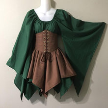 Retro ancient royal togae dress Women Coat medieval Cosplay Costumes Vintage Top Gothic ball gown Middle Ages blouse Costumes(China)