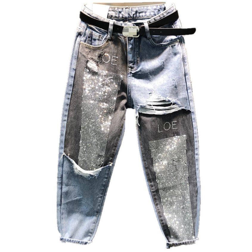 Spring Autumn Fashion AB Face Hit Color Stitching Jeans Women  Diamond Ankle Length High Waist Harem Pants