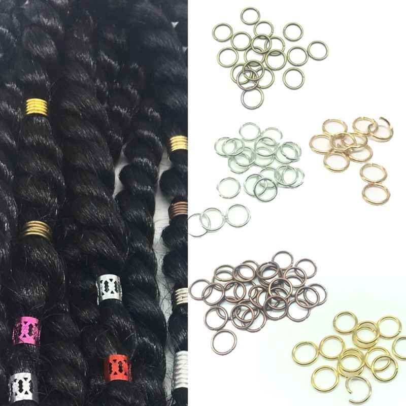 10 Pcs Golden Silver Hair Braid Dreadlock Bead Cuff Clip Braid Hoop Circle For Braid Hair Extension Accessories Oct. 4