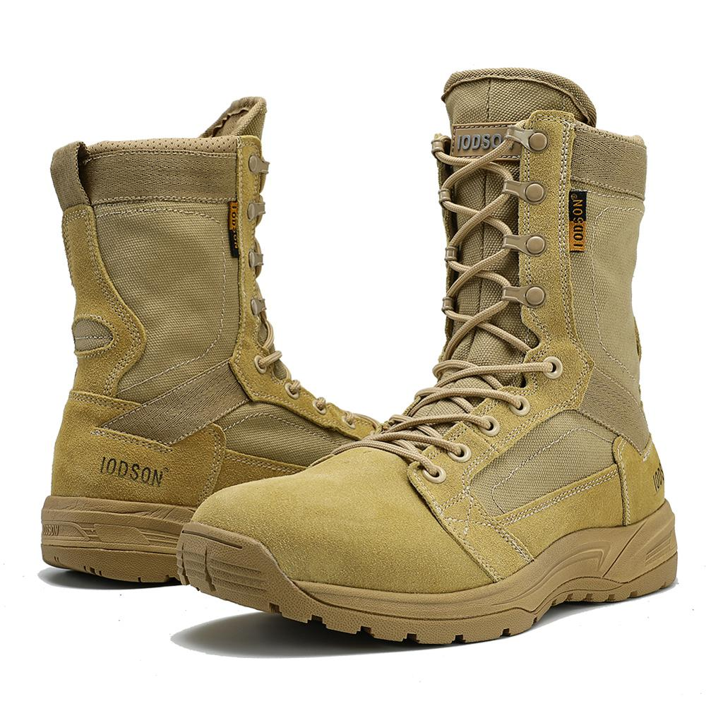 IODSON Spring And Autumn Men's Shoes Special Forces Combat Desert Tactical Military Boots Safety Boots Breathable Military Boots