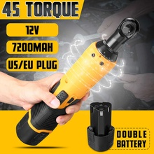 12V Electric Wrench Kit 3/8 Cordless Ratchet Wrench Rechargeable 45NM Torque Ratchet Power Tools US/EU Plug 2 Battery 7200mah