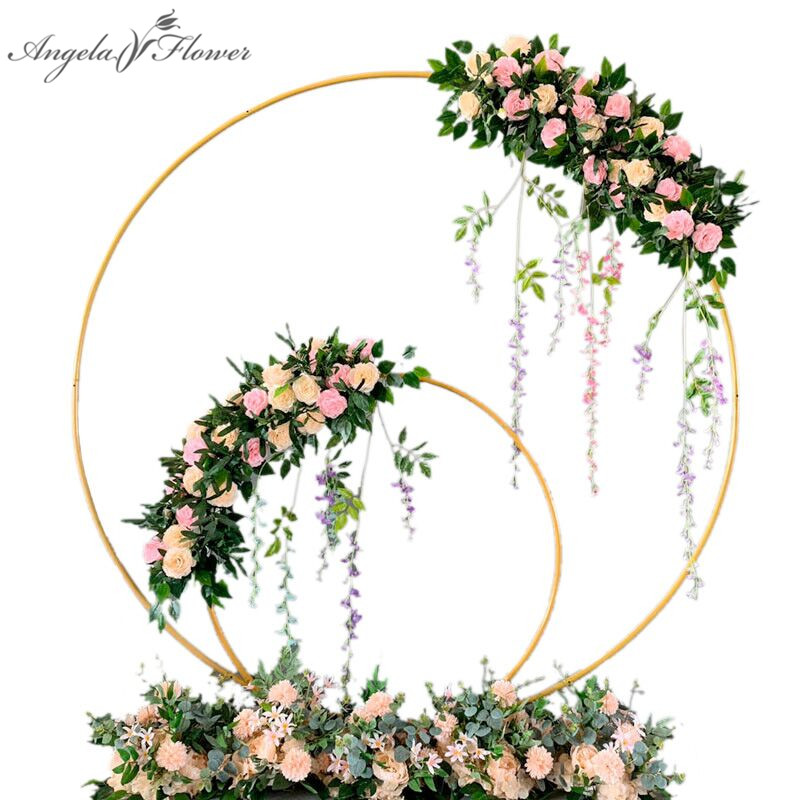 Wedding arch wrought iron round ring arch artificial flower decor birthday party celebration wedding props flower stand shelf(China)