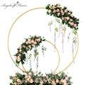 Hochzeit arch schmiedeeisen runde ring arch künstliche blumen decor geburtstag party feier hochzeit requisiten blume stehen regal