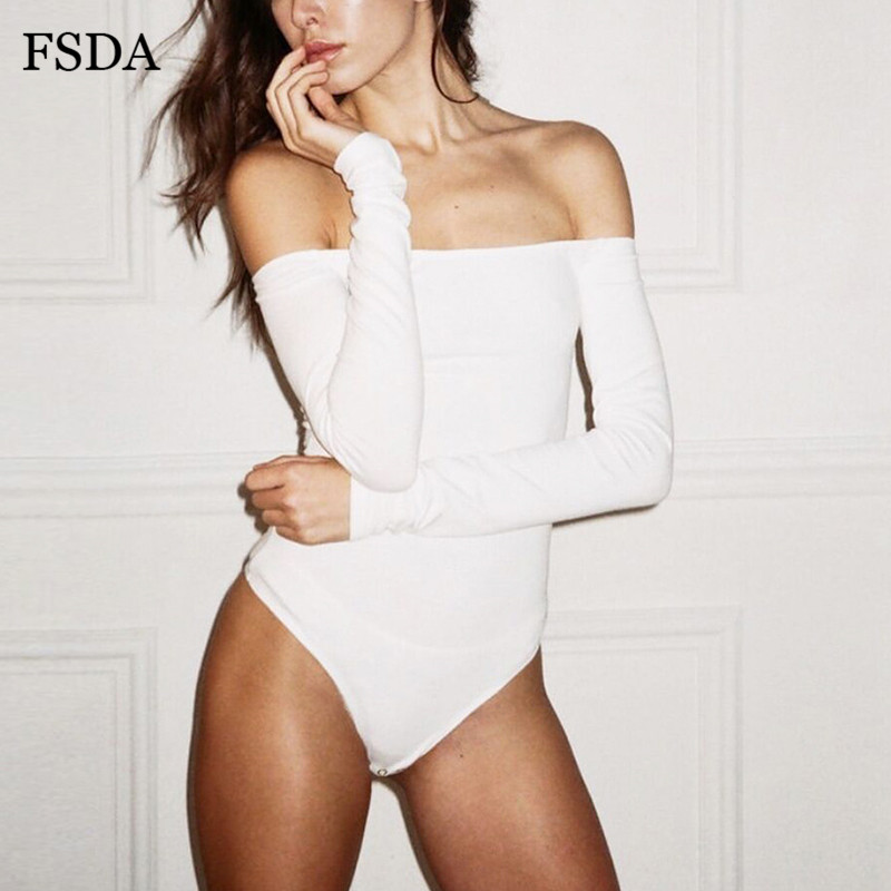 FSDA Off Shoulder Long Sleeve Sexy Bodysuit White Black Women Backless Solid Body Top Autumn Winter Red Casual Bodysuits
