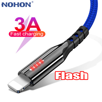 LED Mobile Phone Cable USB For iPhone 12 11 Pro X XS Max 5 6 6S 7 8 Plus iPad Origin 1m 2m 3m Fast Charge Charger Data Wire Cord 1