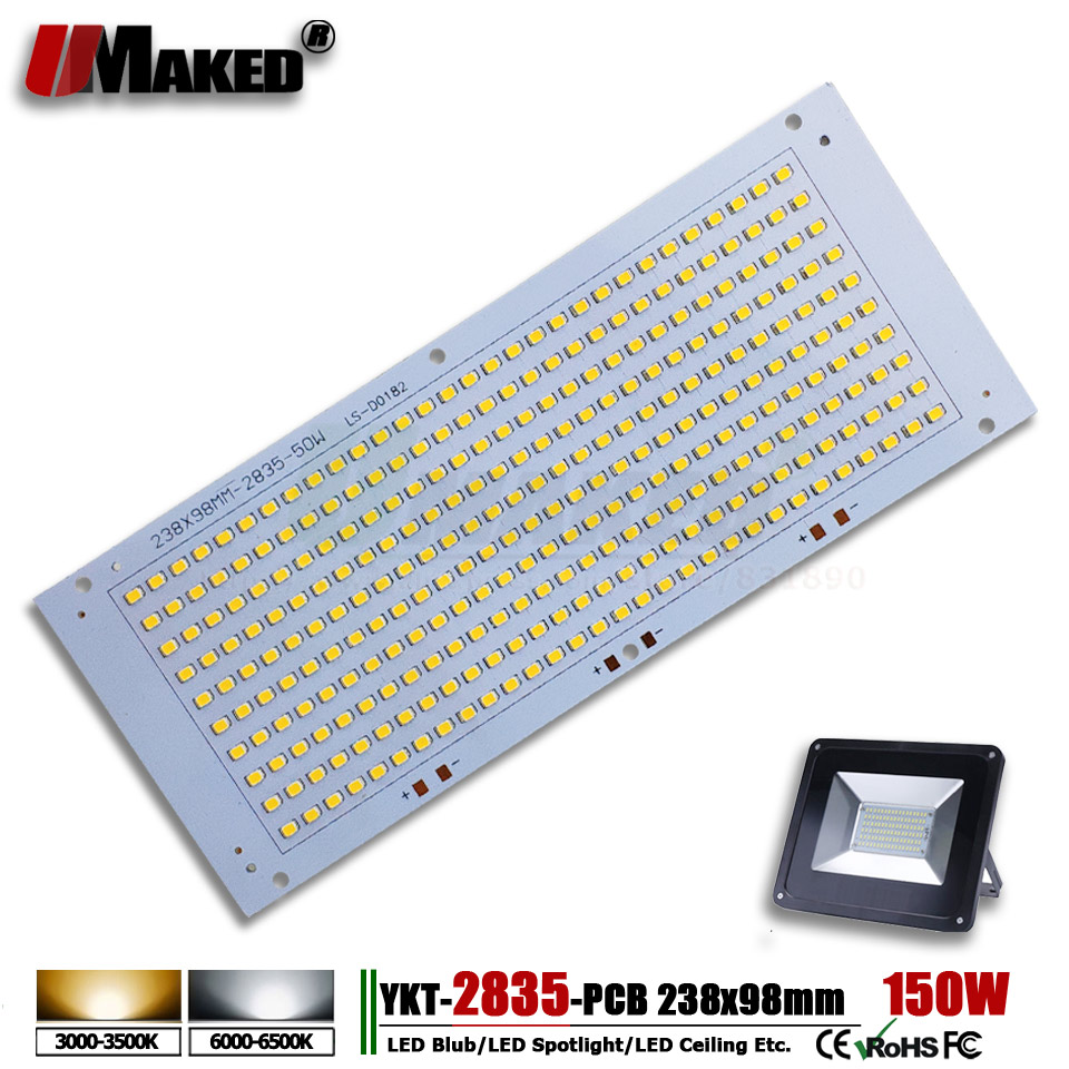 150W 238x98mm Installed SMD 2835 LED PCB Flood Light PCB Plate  Light Source Heatsink Aluminum Panel For Outdoor LED Lamps DIY