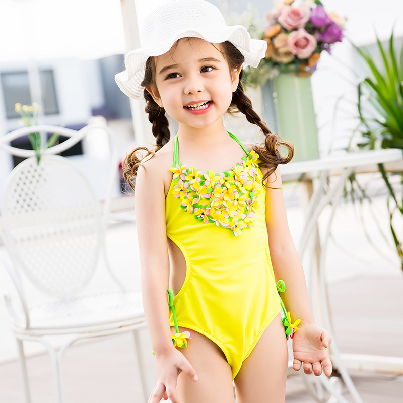 New Style Korean-style One-piece Swimsuit For Children GIRL'S Bikini Stereo Flower Hipster Cute Princess Spa Resort