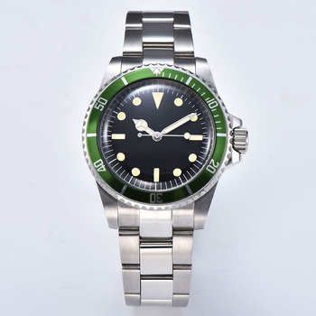 Watch automatic mechanical free ship 39.5mm sterile dial steel case bracelet luminous green aluminum bezel acrylic crystal G28