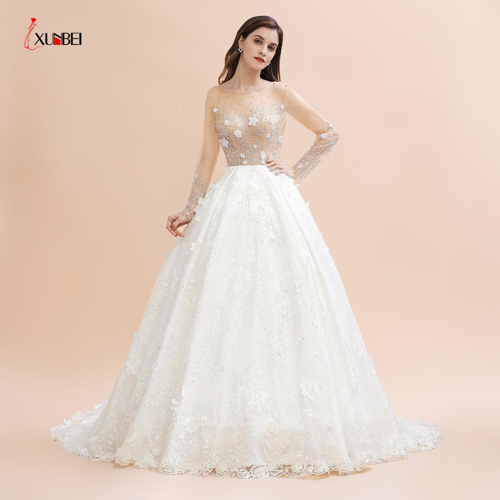 Горячая новинка настоящие Длинные свадебные платья с хрустальными