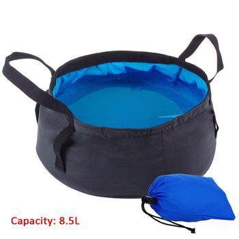 8 5l składane wiadro przenośne bez BPA Camping składany szczelny pojemnik na wodę z uchwytem do wędkowania na świeżym powietrzu tanie i dobre opinie NYLON Pręt 4-warstwowa Collapsible Bucket inner layer cordura