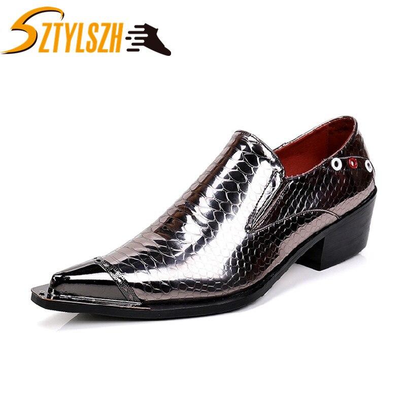 Printemps et automne nouveaux hommes robe chaussures affaires Oxfords sans lacet chaussures plates mode grande taille unique chaussures de mariage en cuir chaussures