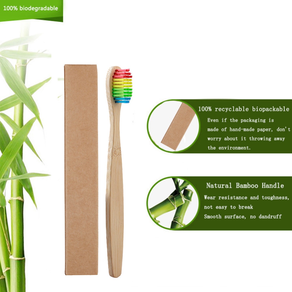 10pcs Soft Bristles Children Bamboo Toothbrushes Eco Friendly Oral Care Travel Tooth Brush in Toothbrushes from Beauty Health