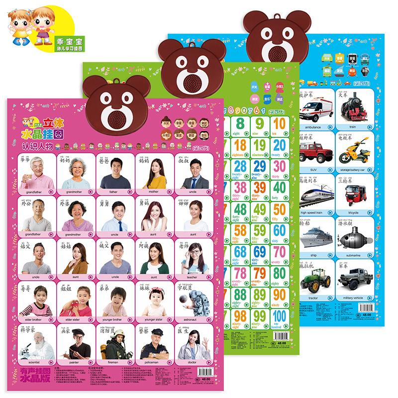 KL Infants Crystal Stereo Learning Pronunciation Audio Chart Painting Pinyin Reading Addition And Subtraction Multiplication And