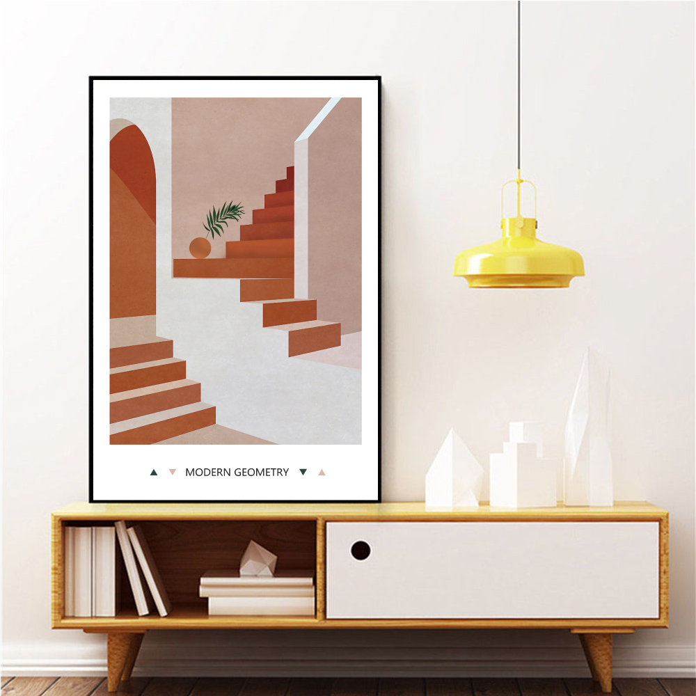 Modern Home Wall Canvas Painting Architectural Art Abstract Geometry Space Printing Posters Wall Pictures for Living Room DJ662 in Painting Calligraphy from Home Garden