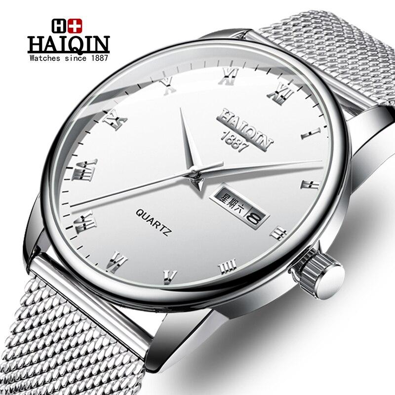 HAIQIN hommes montres Top marque de luxe Reloj Hombre affaires montre à Quartz hommes militaire sport maille en acier horloge Relogio Masculino