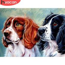 HUACAN diamentowa malowanie psa dekoracja do domu z motywem zwierzęcia naklejka ścienna pełne diamentowe kwadraciki ręczne zestawy rzemieślnicze farba kryształowa z diamentem